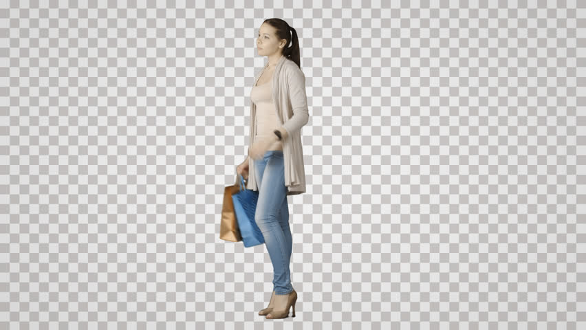 Standing girl with paper packages waits. Side view on alpha matte. File format - mov. Codec - PNG+Alpha. Combine these footage with your background or other people