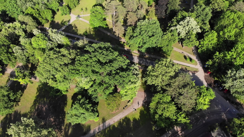 Aerial top view of Topcider park, a large public park in Belgrade, Serbia   Shutterstock HD Video #1053508172