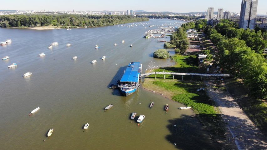 Drone video of Danube river in Zemun, city of Belgrade, Serbia   Shutterstock HD Video #1053509912