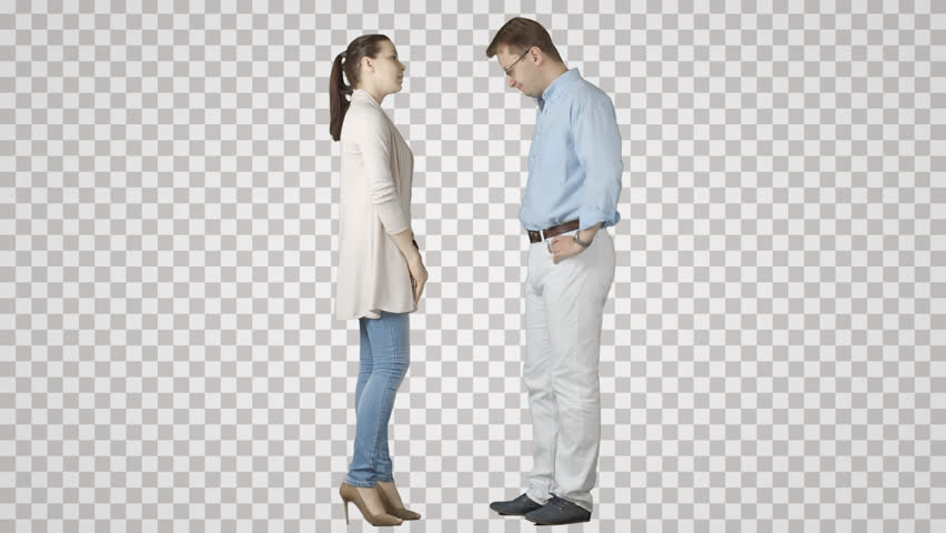 Man & girl stand face to face, talk, wait. Isolated on transparent background. File format - mov. Codec - PNG+Alpha. Combine these footage with your background or other people
