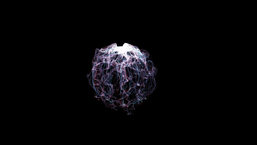 Abstract Strings of Chaotic Light Energy Sphere Ball, Animation Fractal Lightning, Digital Flames, Artistic Design Strings of Chaotic Energy   | Shutterstock HD Video #1053512996