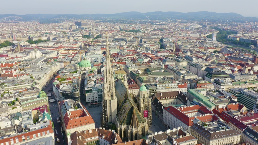 Vienna, Austria. St. Stephen's Cathedral (Germany: Stephansdom). Catholic Cathedral - the national symbol of Austria, Aerial View | Shutterstock HD Video #1053514265