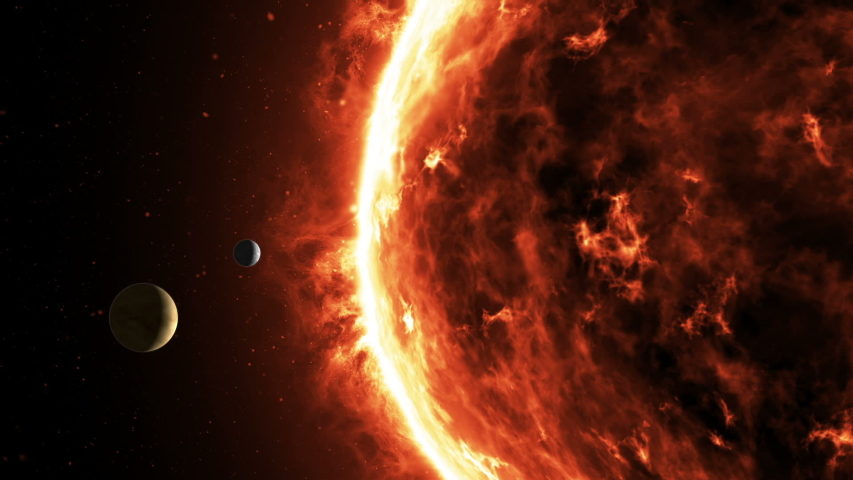 Planet Venus and Mercury slowly revolve around incendiary rotating Solar star. Magnetic storm, burning solar surface with prominences and glowing sparks on the black starry space sky Royalty-Free Stock Footage #1053519272