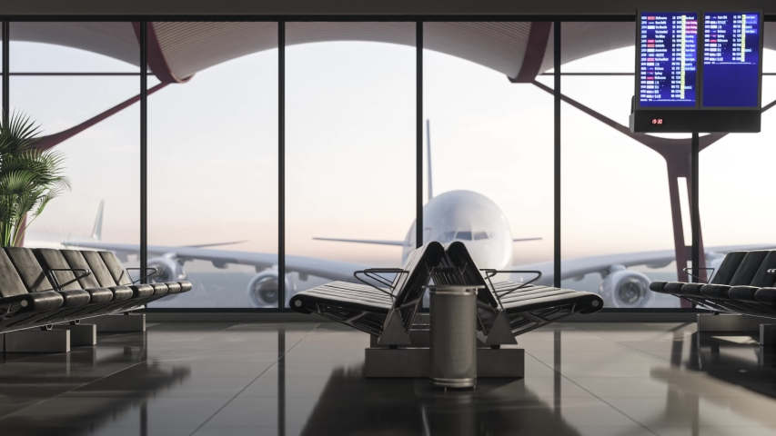 Waiting room in airport terminal. Airplane takes off outside the window of the airport terminal. Empty waiting room at the airport. Royalty-Free Stock Footage #1053522965
