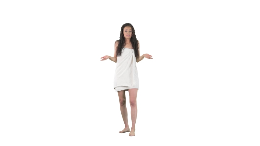 Young regretful woman looking at camera feeling sorry excusing and apologizing for accidental mistake isolated on solid white background.  | Shutterstock HD Video #1053523712