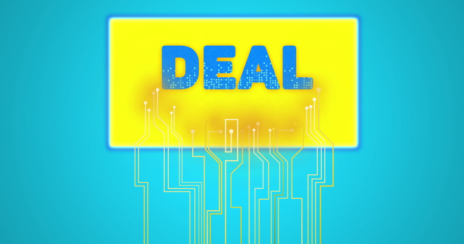 Circuit lines, technology marketing and text screen concept: Yellow circuit lines moving to a rectangular shaped screen with flashing DEAL text on vibrant light blue background. | Shutterstock HD Video #1053525122