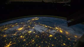 ISS Time-lapse Video of Earth seen from the International Space Station with dark sky and city lights at night over North South USA, Time Lapse 4K. Images courtesy of NASA.