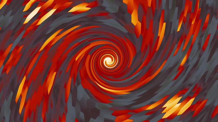 Burning Tiles Vortex Abstract Background. Computer generated gradient solids. Perfect to use with music, backgrounds, transition and titles. Loop Ready