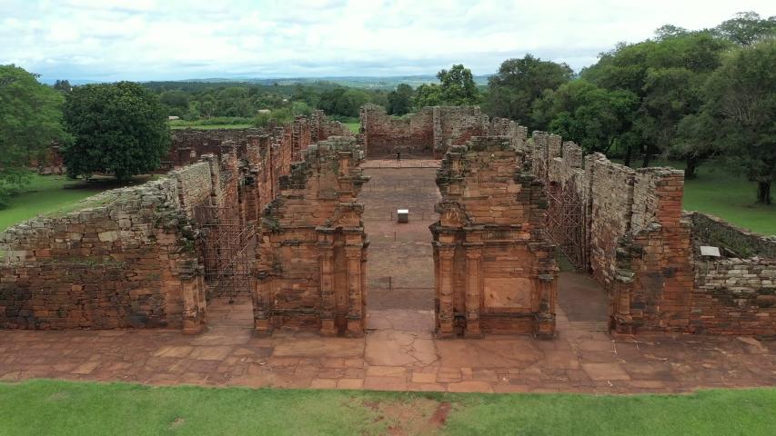 Ruins of a Spanish San Ignacio mini mission in the province of Misiones, filmed in drone