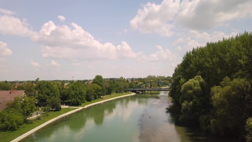 River Danube, Mosoni Duna aerial drone footage in Halaszi, Szigetkoz, summer landscape   Shutterstock HD Video #1053547556