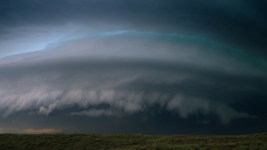 A Powerful Supercell Thunderstorm In Tornado Alley During 2020 Storm Season - Time Lapse