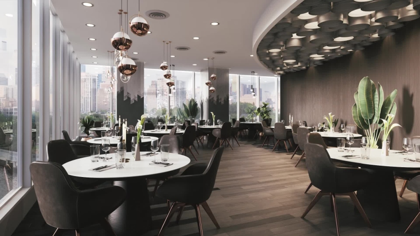 Interior of a modern restaurant. Restaurant interior with round tables.  Royalty-Free Stock Footage #1053553877