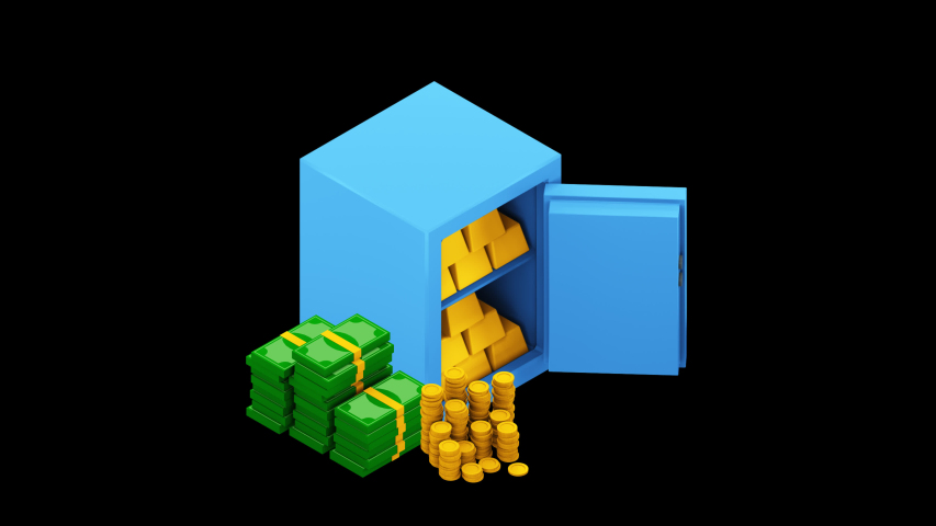 Bank safe with money dollar stacks. Safe open with money. 3d isometric illustration. Alpha channel | Shutterstock HD Video #1053559361