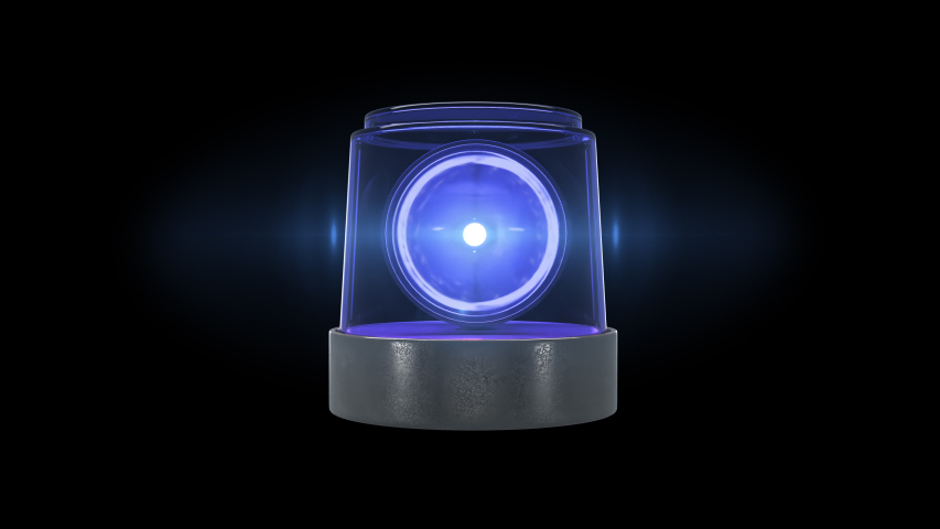 Loop blue warning light with flare and alpha channel | Shutterstock HD Video #1053566945