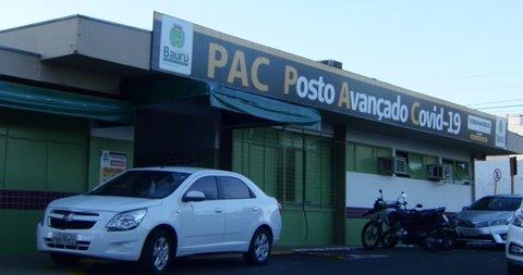 SAO PAULO, BRAZIL. Circa June 2020: Emergency hospital during Covid-19 coronavirus pandemic,  medical center built treat Covid19 patients