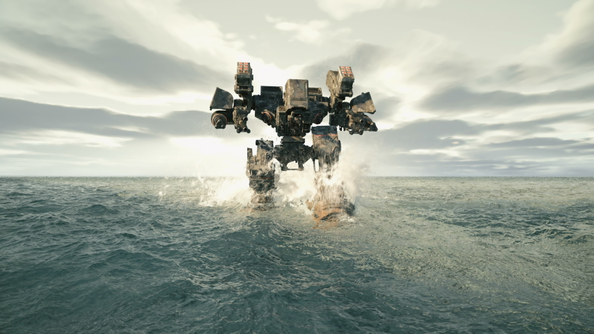 A military robot walks on a surface covered with water. The concept of the future Apocalypse. Animation for military, futuristic or fiction backgrounds.