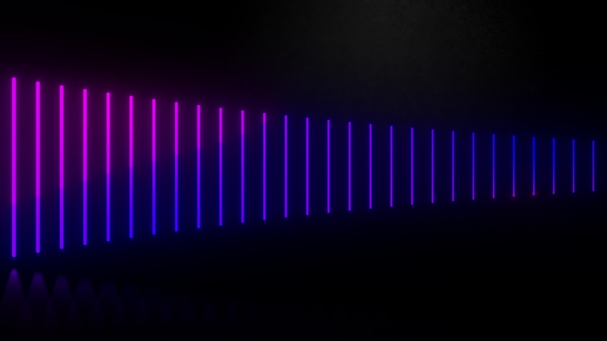 2D animation of vertical glowing lines, ultraviolet spectrum, blue violet neon lights, laser show, night club, equalizer, abstract fluorescent background, optical illusion, virtual reality | Shutterstock HD Video #1053569846