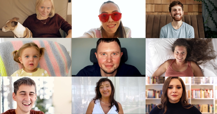 Bonding video screen with nine 9 different people at home | Shutterstock HD Video #1053581435