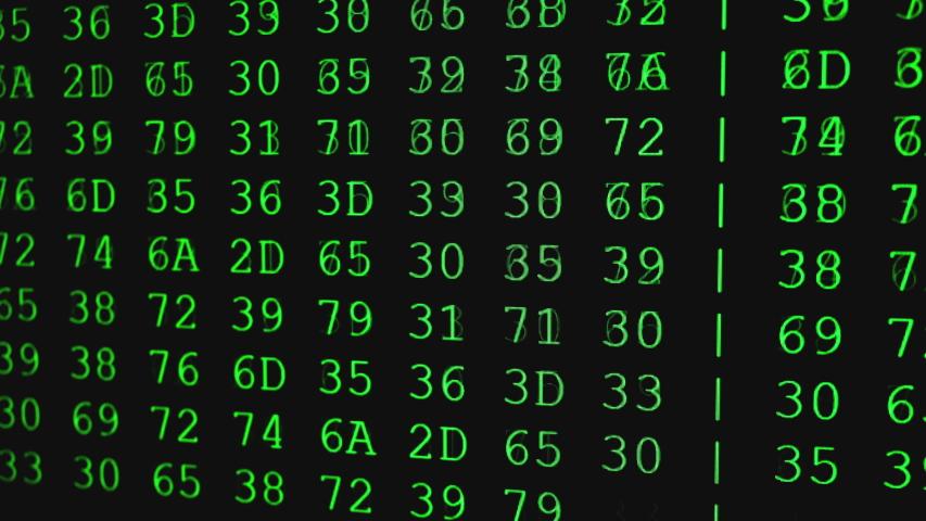 Program HEX code on scientific device screen, green text ASCI information, 4K UHD video   Shutterstock HD Video #1053584129