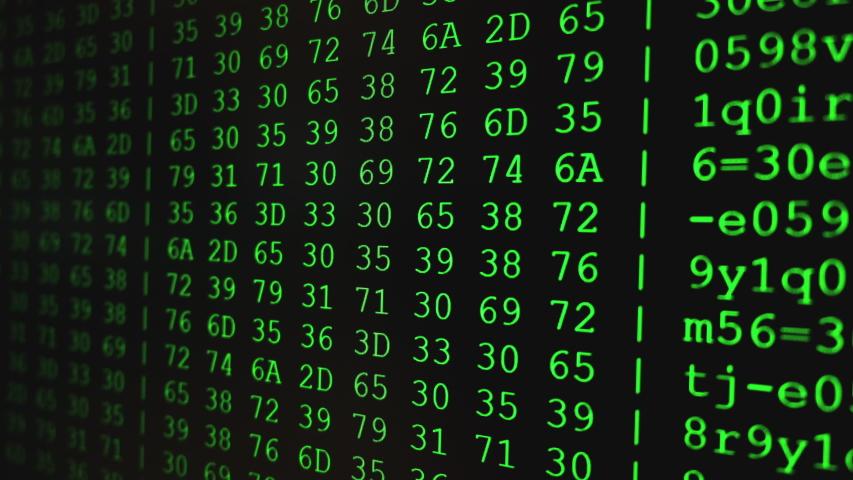 Program HEX code on scientific device screen, green text ASCI information, 4K UHD video   Shutterstock HD Video #1053584132