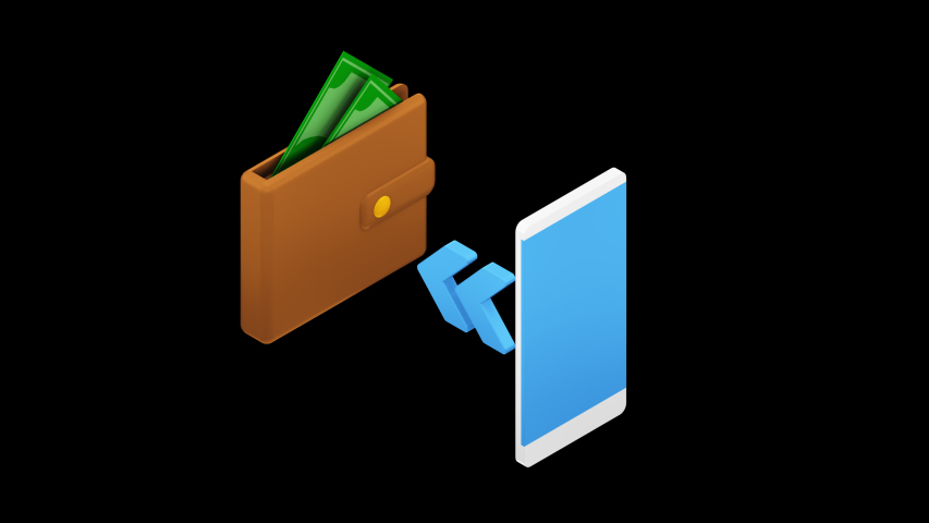 Online money transfer illustration 3d isometric concept with smartphone and press send button. Alpha channel Royalty-Free Stock Footage #1053589658