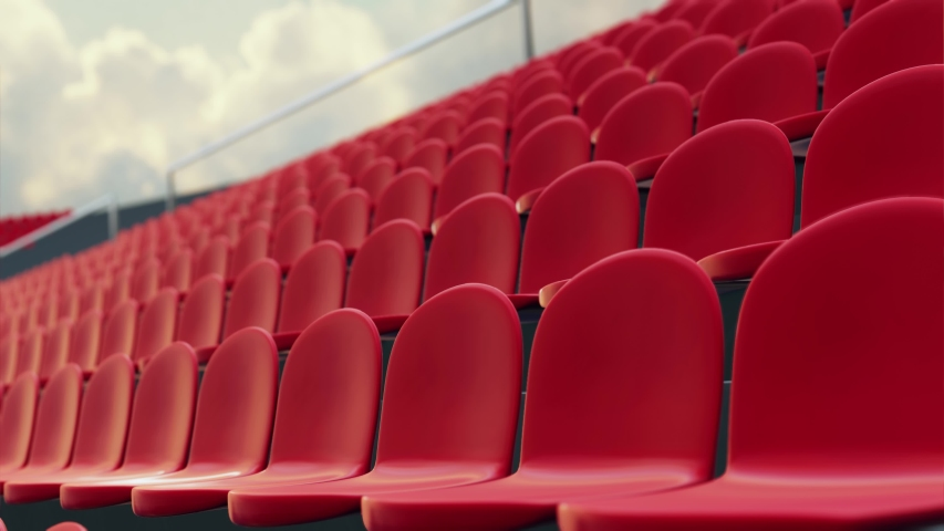 3D Rendering of large soccer stadium during twilight. Empty red seat. Restart season. Lockdown sport. coming soon, cancelled, restart seasos. Sport stadium Royalty-Free Stock Footage #1053606482