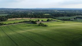 Aerial footage of a hayfield, wheat field. Beautiful dynamic landscape drone
