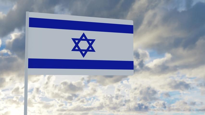 3d rendering realistic flag of Israel waving in the wind against deep blue sky Royalty-Free Stock Footage #1053612740