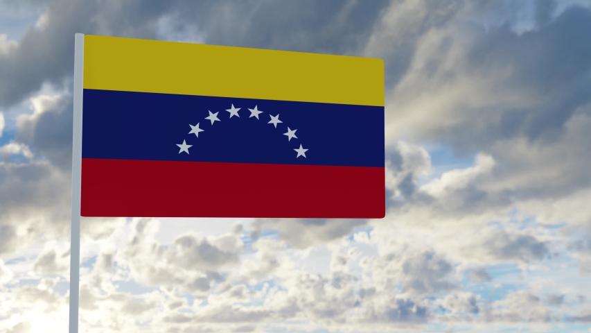 3d rendering realistic flag of Venezuela waving in the wind against deep blue sky Royalty-Free Stock Footage #1053612746
