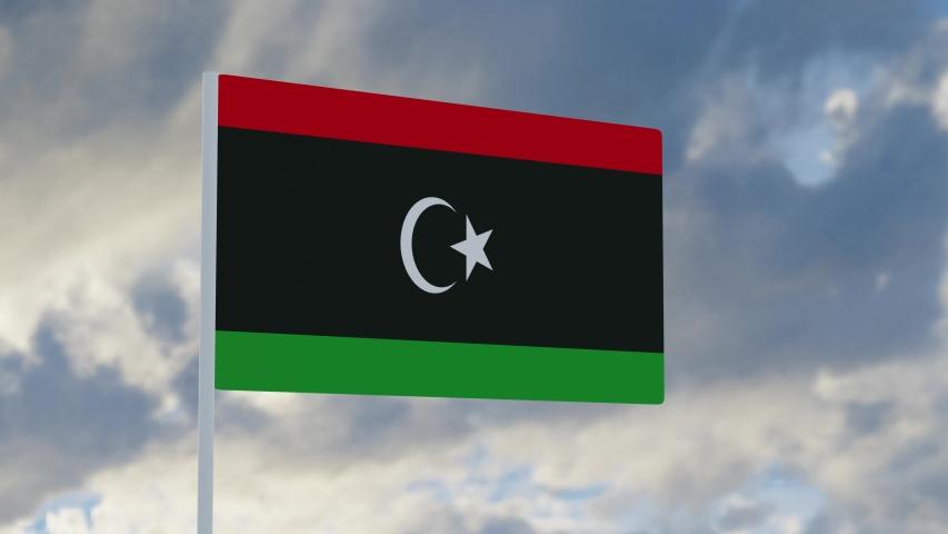 3d rendering realistic flag of Libya waving in the wind against deep blue sky Royalty-Free Stock Footage #1053612761