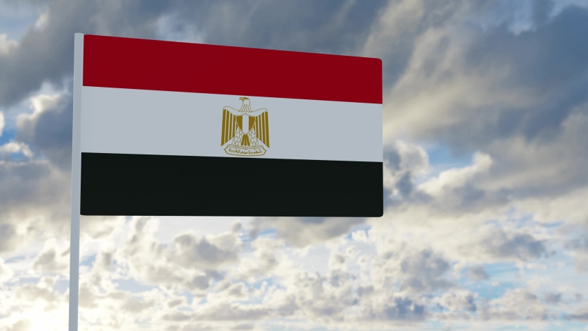 3d rendering realistic flag of Egypt waving in the wind against deep blue sky Royalty-Free Stock Footage #1053612773