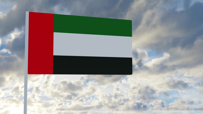 3d rendering realistic flag of United Arab Emirate waving in the wind against deep blue sky Royalty-Free Stock Footage #1053612866