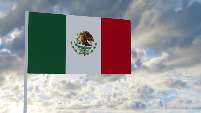 3d rendering realistic flag of Mexico  waving in the wind against deep blue sky Royalty-Free Stock Footage #1053613061