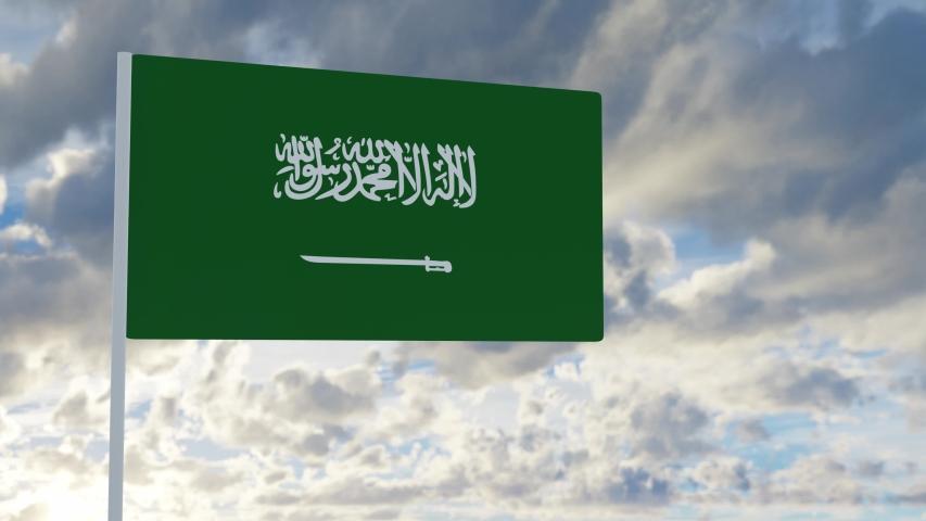 3d rendering realistic flag of Saudi Arabia waving in the wind against deep blue sky Royalty-Free Stock Footage #1053613103