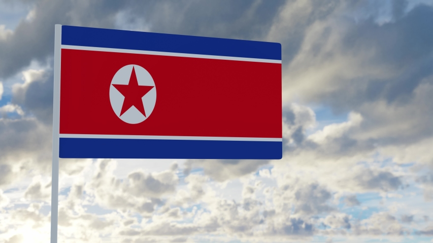3d rendering realistic flag of North Korea waving in the wind against deep blue sky Royalty-Free Stock Footage #1053613184