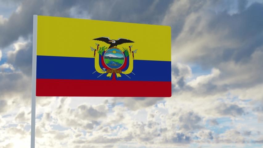 3d rendering realistic flag of Ecuador waving in the wind against deep blue sky Royalty-Free Stock Footage #1053613193