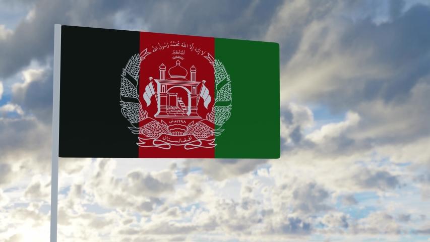 3d rendering realistic flag of Afghanistan waving in the wind against deep blue sky Royalty-Free Stock Footage #1053613271