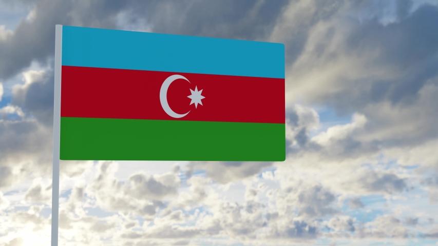 3d rendering realistic flag of Azerbaijan waving in the wind against deep blue sky Royalty-Free Stock Footage #1053613274