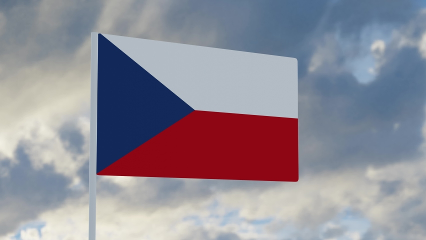 3d rendering realistic flag of  Czech Republic waving in the wind against deep blue sky Royalty-Free Stock Footage #1053613280