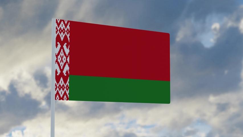 3d rendering realistic flag of Belarus  waving in the wind against deep blue sky Royalty-Free Stock Footage #1053613283