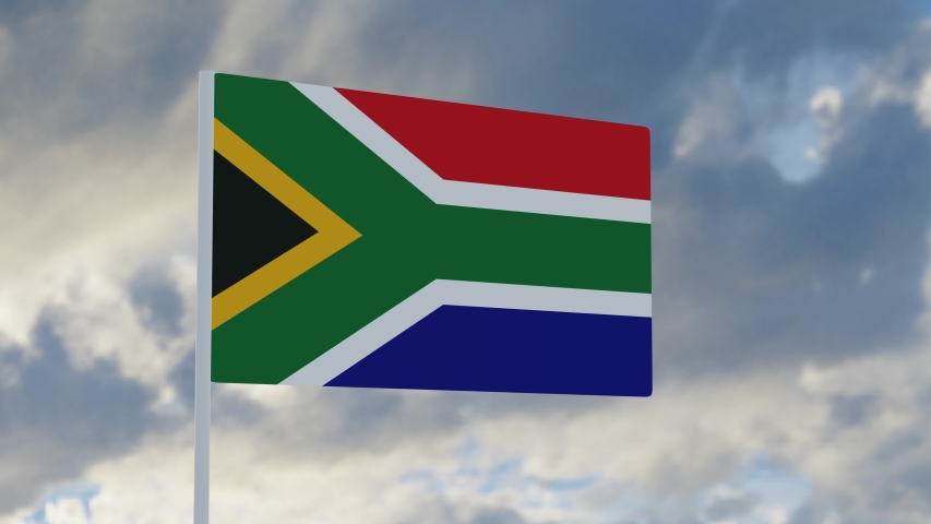 3d rendering realistic flag of South Africa waving in the wind against deep blue sky Royalty-Free Stock Footage #1053613313