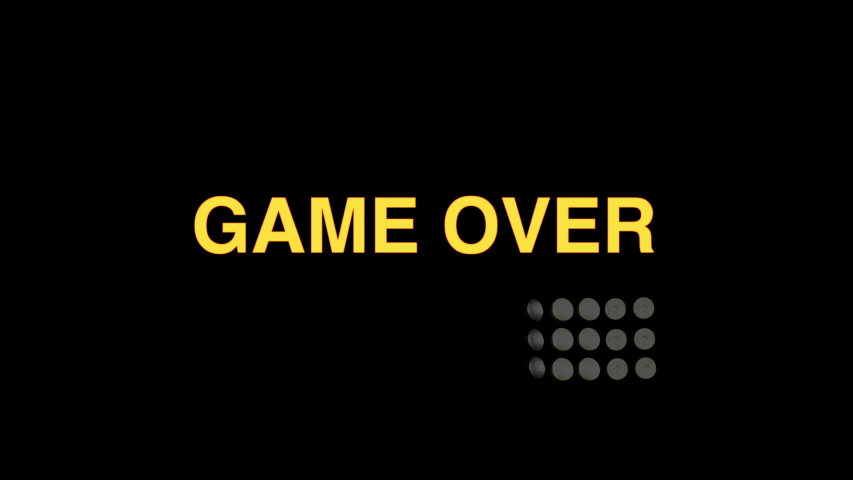 Game over. End of a game or sport. Pitch floodlights dim followed by a brightly lit  Game Over sign. | Shutterstock HD Video #1053615437