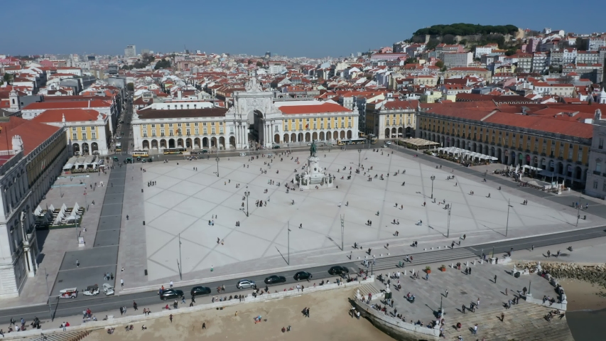 Drone Panning Shot of the Promenade and Public Square in Lisbon, the Parco do Comercio, Portugal | Shutterstock HD Video #1053623354