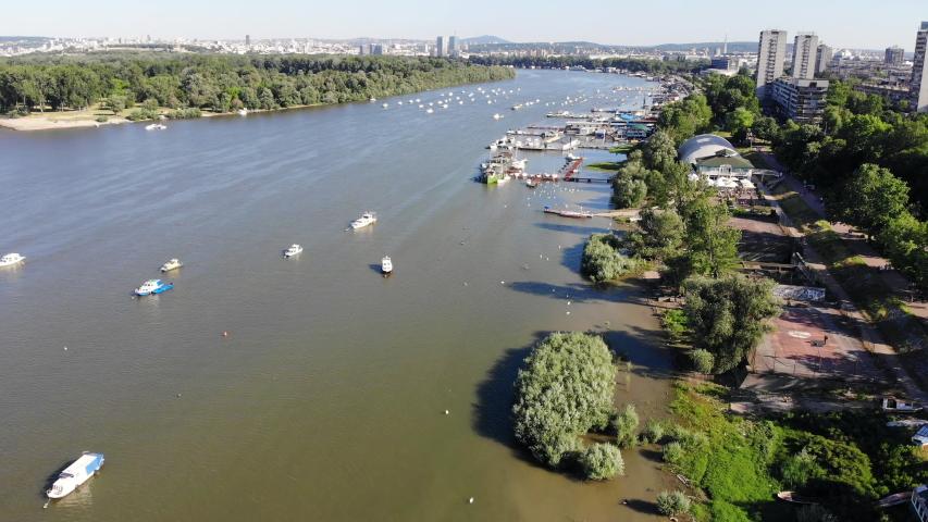 Aerial drone video of river Danube in Zemun, Belgrade, Serbia   Shutterstock HD Video #1053627830
