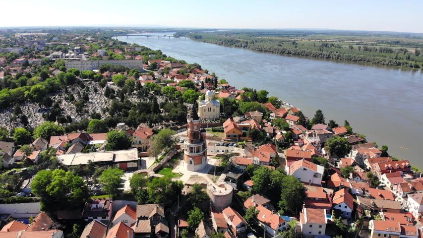 Aerial view of Gardos tower and Danube river in Zemun, Belgrade, Serbia   Shutterstock HD Video #1053629642
