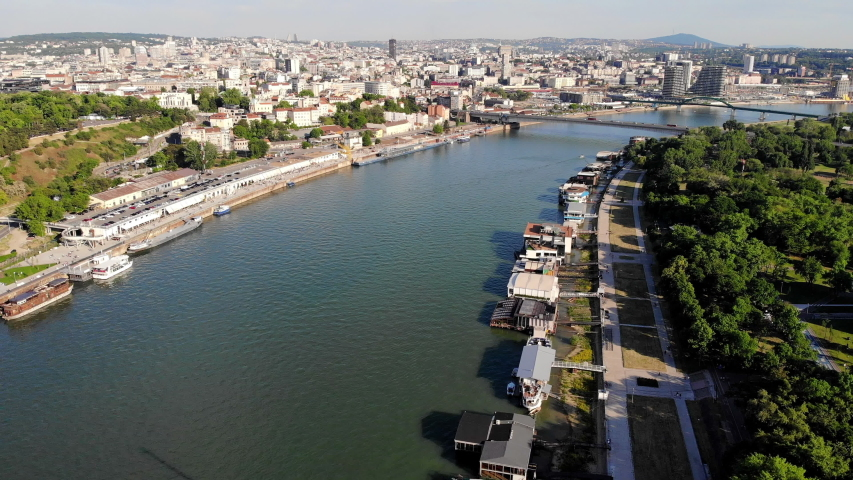 Aerial view of Sava river and Belgrade city skyline   Shutterstock HD Video #1053634940
