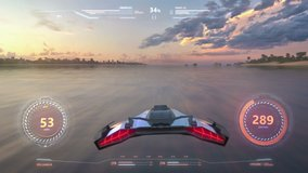 3d fake Video Game. Flight over the ocean at sunset. Hud