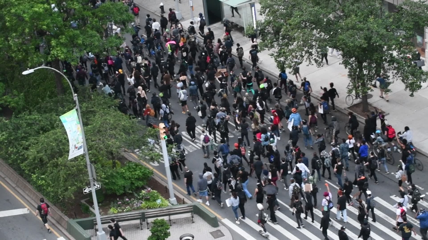 NEW YORK CITY CIRCA MAY 2020. Amid growing violence and protests over George Floyd's death, Black Lives Matter demonstrations, marches and riots are seen here on Manhattan streets