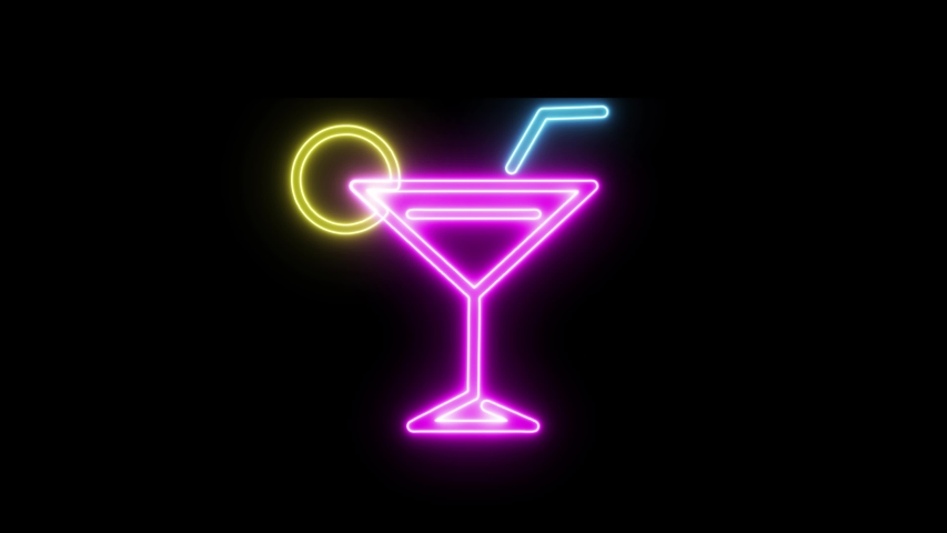 Cocktail bar neon sign light on black background. Cocktail bar sign seamless looping. | Shutterstock HD Video #1053643904