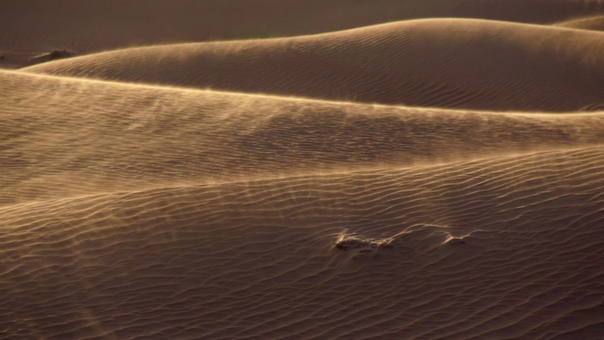 Arabian desert slow motion sand dunes blowing in the wind during a sand storm